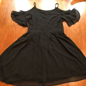 Beauty and the Beast Black Button Lace Dress